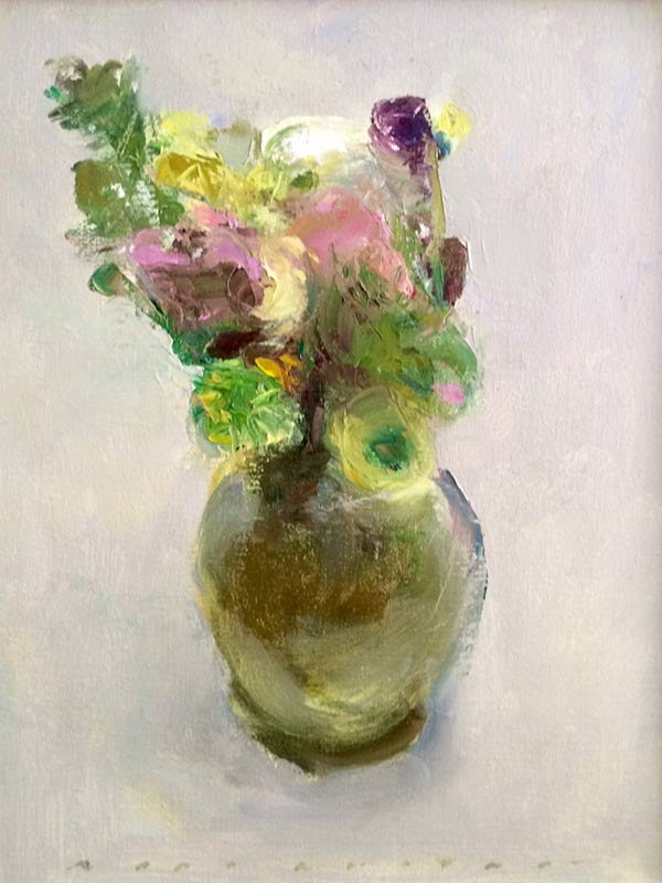 Marc Whitney oil painting Floral Silver and Pink