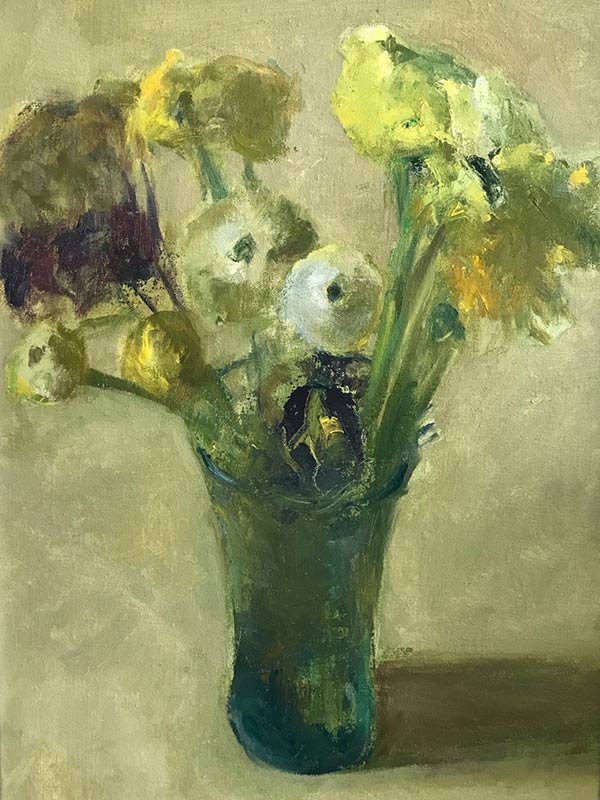 Marc Whitney original oil painting Floral Mixed green and Yellow