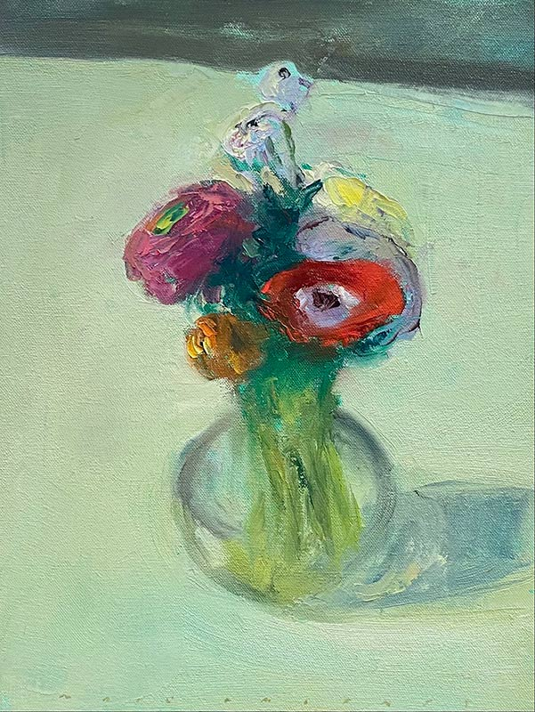 Glass Vase with Mixed Flowers