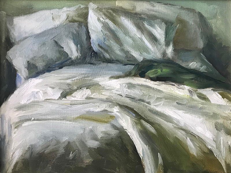 Gray Blanket oil painting Marc Whitney
