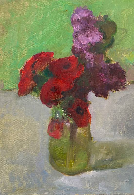Lilacs and Ranunculus oil by Marc Whitney