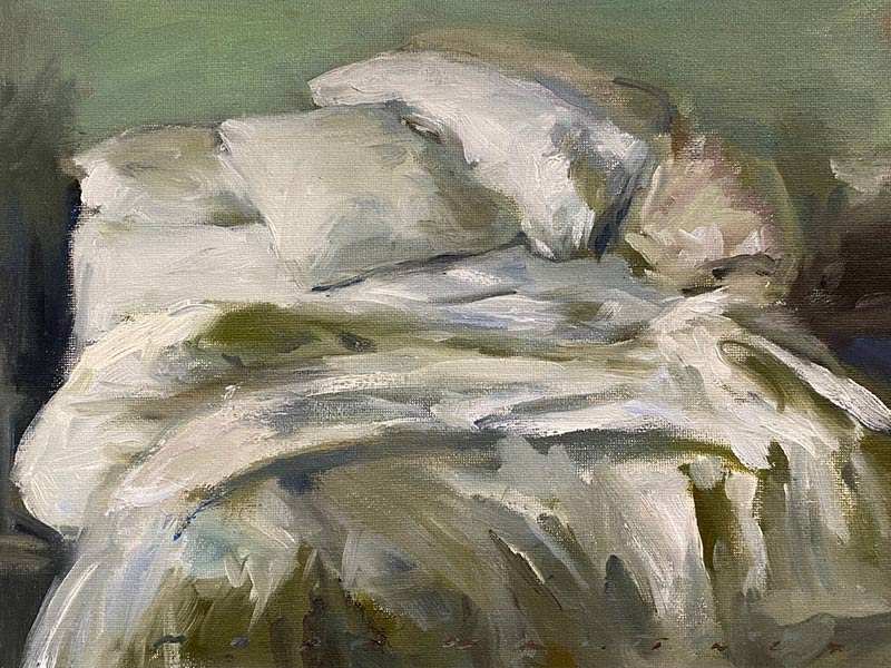 Unmade Bed Pillows oil painting by Marc Whitney