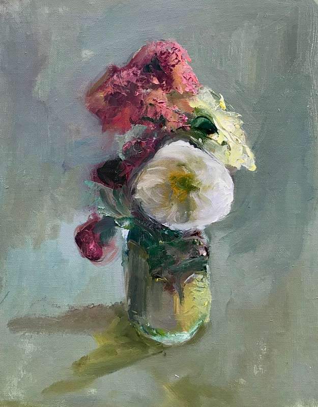 White Hybrid Ranunculus oil painting by Marc Whitney