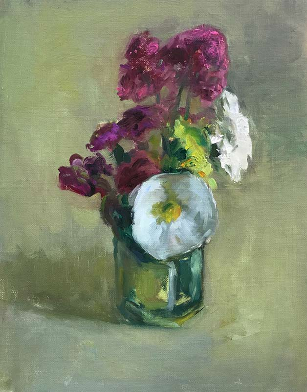 White Hybrid with Stock floral oil painting by Marc Whitney