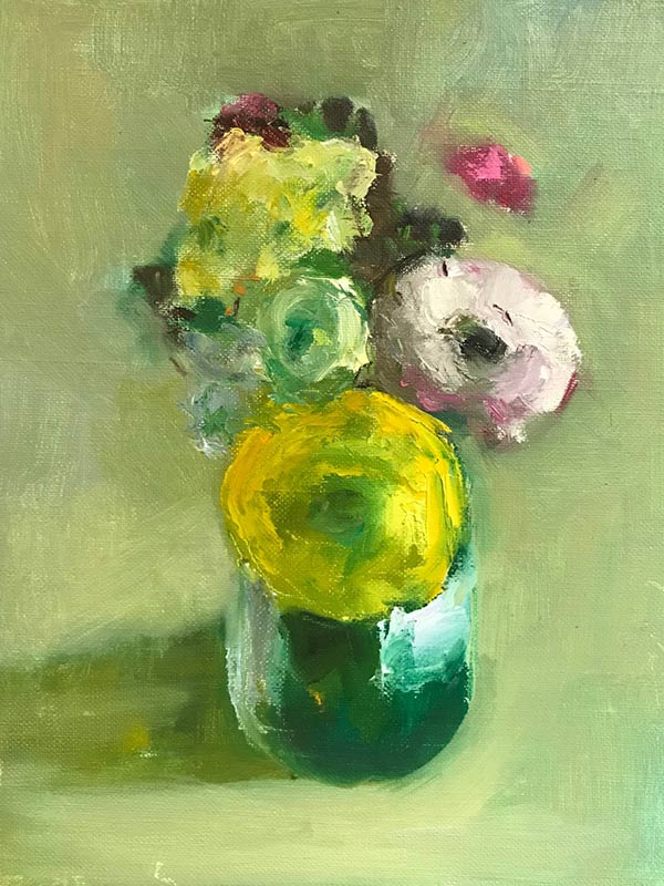 Yellow Ranunculus oil by Marc Whitney