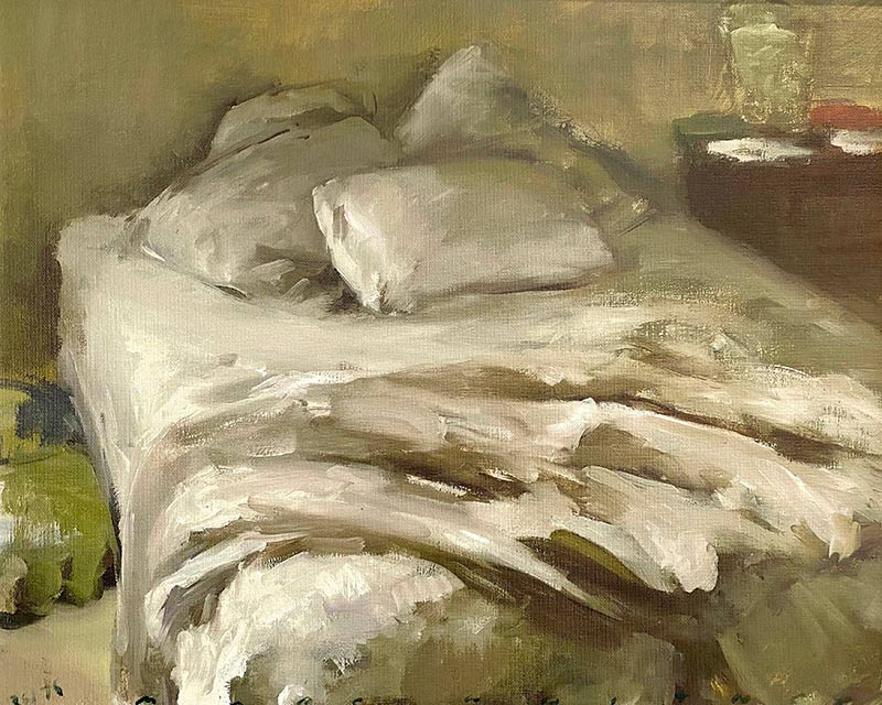 Bed Sheets print of Marc Whitney oil painting