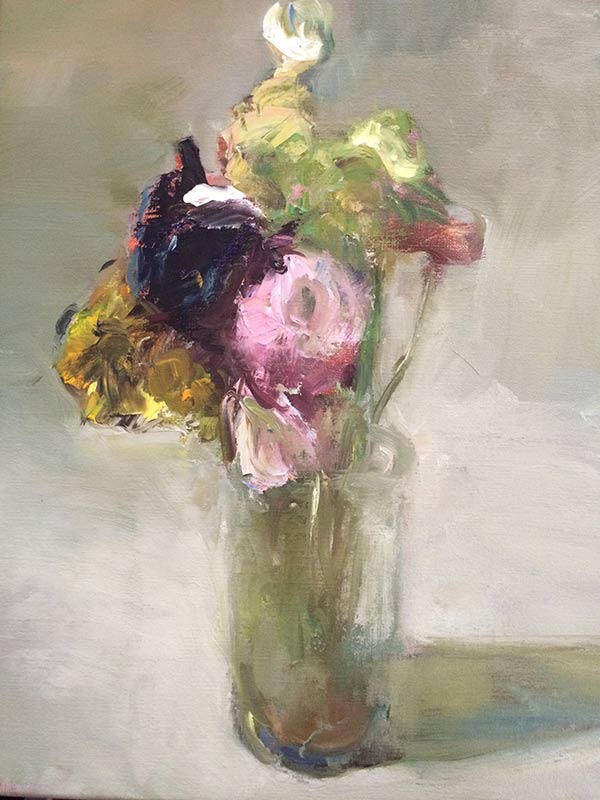 Marc Whitney oil painting Clear Glass with Flowers