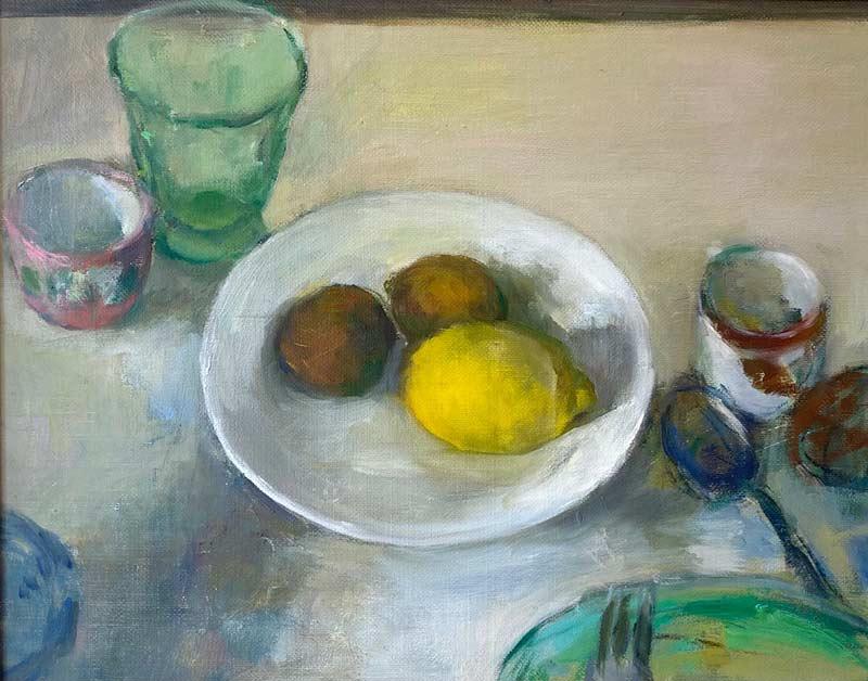 Still Life with Lemon and Kiwi original oil painting Marc Whitney