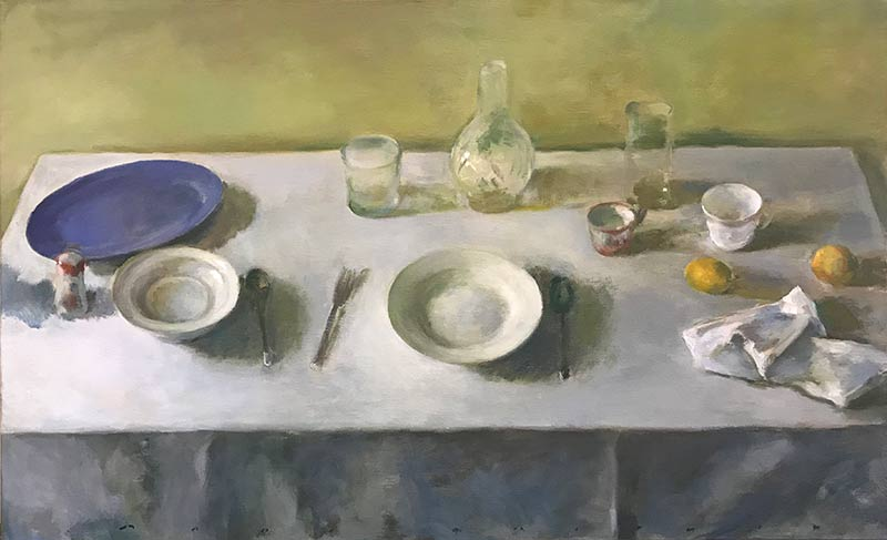 Marc Whitney oil Table Setting with Blue Plate and Lemons