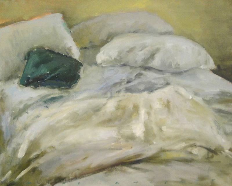 Marc Whitney fine art print Unmade Bed with Blue Green Pillow