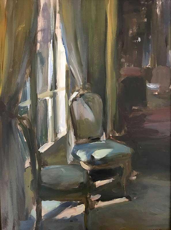 Santa Barbara Estate Painting of 2 chairs